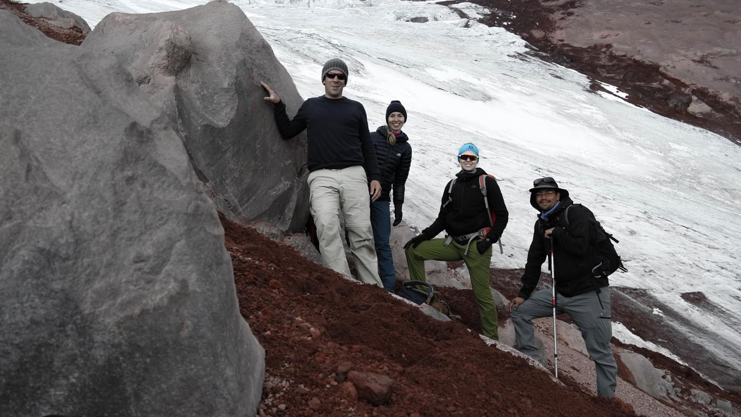 Field research at the glacier margin, Cotopaxi, Ecuador